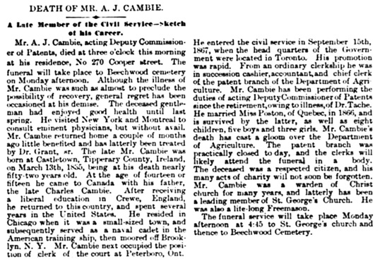 The Ottawa Journal, February 19, 1887, page 1, column 5.