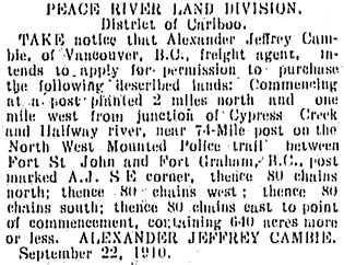 Fort George Herald, November 26, 1910, page 7, column 2; https://open.library.ubc.ca/collections/bcnewspapers/fgherald/items/1.0344524#p6z0r0f:
