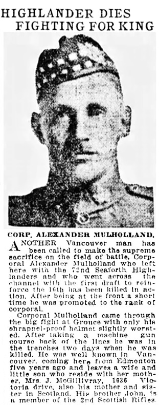 Vancouver Province, October 30, 1916, page 2, column 4.