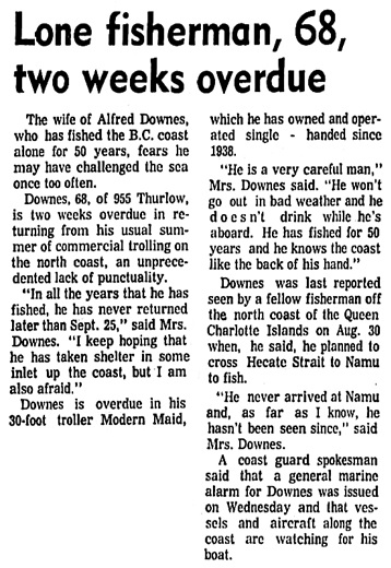 Vancouver Sun, October 5, 1973, page 10, columns 4-5.