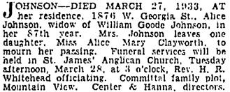 Vancouver Sun, March 27, 1933, page 10, column 1.