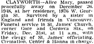 Vancouver Sun, December 30, 1948, page 17, column 3.