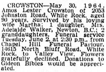 Vancouver Sun, June 1, 1964, page 29, column 3.