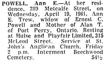 Ottawa Citizen, April 20, 1961, page 32, column 2.
