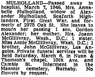 Vancouver Sun, March 7, 1946, page 15, column 2 [Note: it appears that the references in the notice should be to Washington State, not Washington, D.C.]