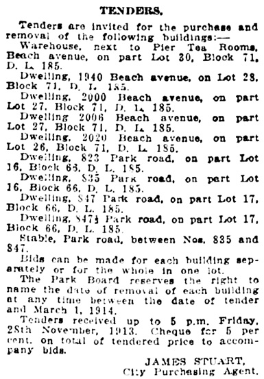 Beach Avenue and Park Road - houses - removal - Vancouver Daily World, November 19, 1913, page 19, column 4.