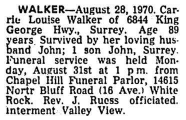Surrey Leader (Surrey, British Columbia), September 3, 1970, page 6, column 2.