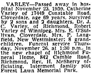 Vancouver Sun, November 25, 1959, page 30, column 4.