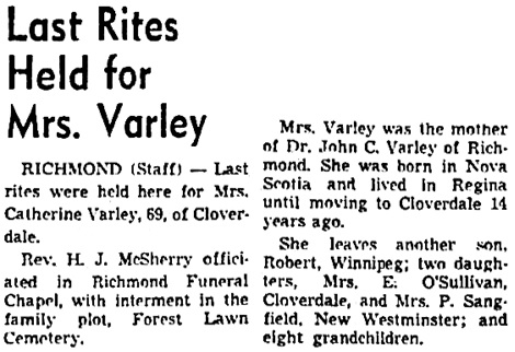Vancouver Sun, November 30, 1959, page 22, column 4.