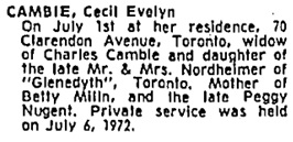 Toronto Globe and Mail, July 8, 1972, page 47, column 2.
