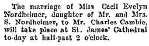 Toronto Globe, October 9, 1907, page 6, column 1.