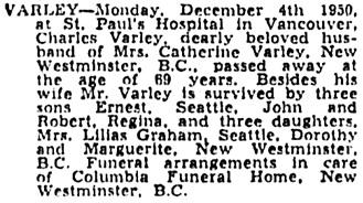 Regina Leader-Post, December 6, 1950, page 26, column 1.