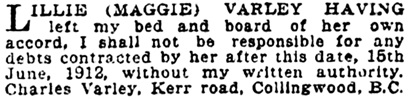 Vancouver Province, June 20, 1912, page 25, column 3.