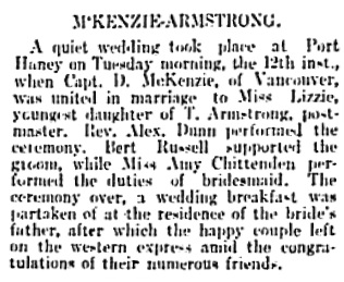 Vancouver Daily World, July 18, 1898, page 5, column 2.