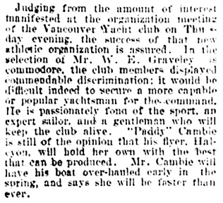 Vancouver Daily World, February 7, 1903, page 7, column 1.