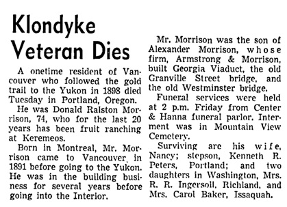 Vancouver Sun, February 23, 1953, page 7, column 2.