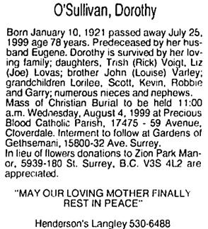 Surrey Leader (Surrey, British Columbia), August 1, 1999.