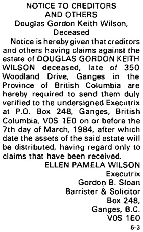 Gulf Islands Driftwood, February 22, 1984, page 24, column 4; https://saltspringarchives.com/driftwood/1984/v25n8p2Feb22-1984.pdf.