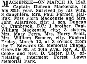 Vancouver Sun, March 11, 1943, page 18, column 1.