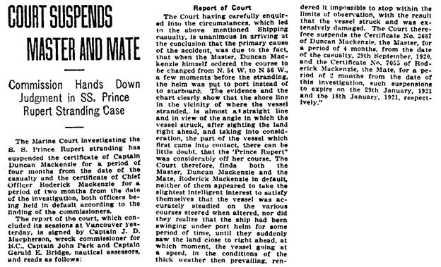 The Victoria Daily Times (Victoria, British Columbia), November 19, 1920, page 12, column 1.