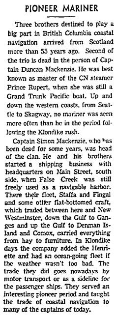 Vancouver Sun, March 12, 1943, page 6, column 1.