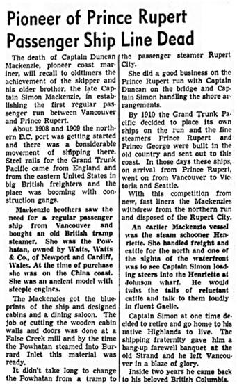 Vancouver Sun, March 13, 1943, page 29, columns 7-8.