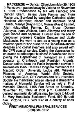 Vancouver Sun, November 10, 1999, page 26, column 2.