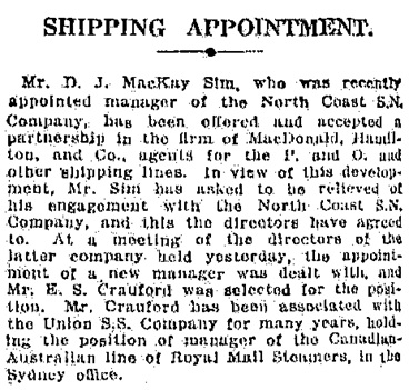 The Daily Telegraph (Sydney, New South Wales), November 29, 1919, page 10, column 8; https://trove.nla.gov.au/newspaper/article/239654257.