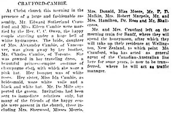 Vancouver Daily World, August 8, 1906, page 8, columns 6-7.