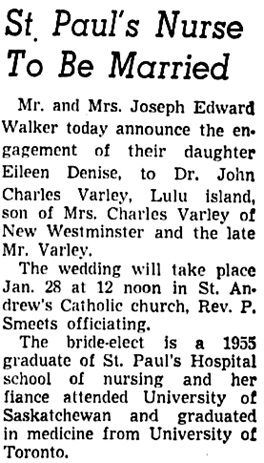 Vancouver Sun, January 10, 1956, page 19, column 8.