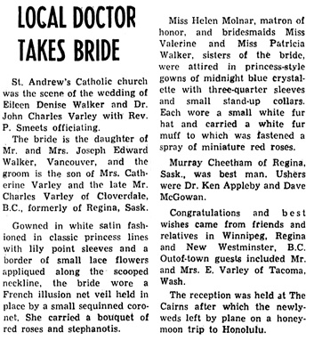 Richmond Review (Richmond, British Columbia), February 8, 1956, page 6, column 4.