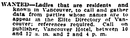 Vancouver Province, January 20, 1908, page 14, column 5.