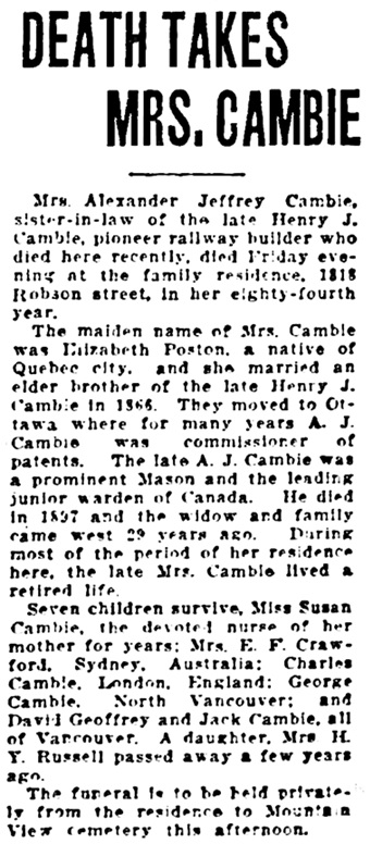 Vancouver Sun, May 28, 1928, page 14, column 8.