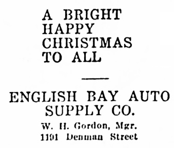 Vancouver Daily World, December 24, 1920, page 19, column 5.