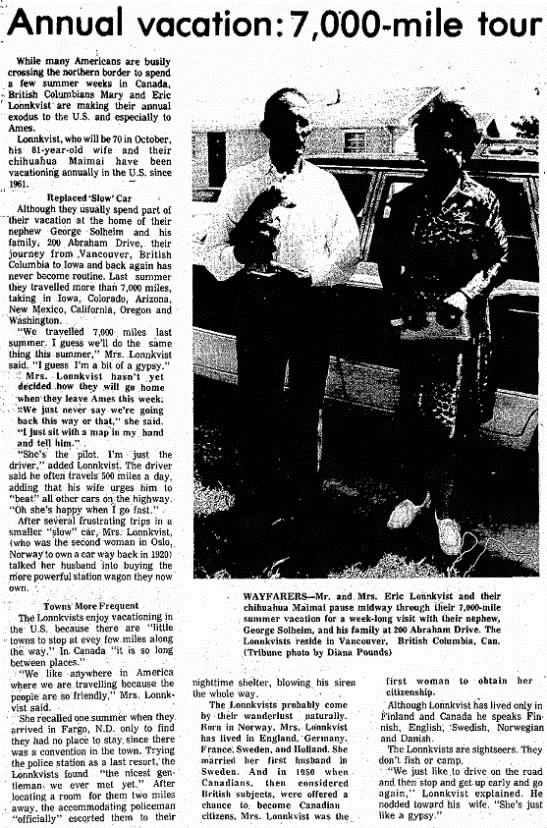 Ames Daily Tribune (Ames, Iowa), August 15, 1972, page 12, columns 1-3.