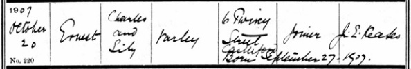 Ancestry.com. West Yorkshire, England, Church of England Births and Baptisms, 1813-1910 [database on-line]. Lehi, UT, USA: Ancestry.com Operations, Inc., 2011. Name: Ernest Varley; Age: 0; Record Type: Baptism; Birth Date: 27 Sep 1907; Baptism Date: 20 Oct 1907; Baptism Place: Whitwood Mere, All Saints, West Yorkshire, England; Parish as it Appears: Whitwood Mere, All Saints; Father: Charles Varley; Mother: Lily Varley.