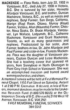 Victoria Times Colonist, July 30, 1998, page 45, column 3.