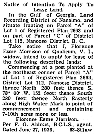 Nanaimo Daily News, June 29, 1939, page 4, column 3.