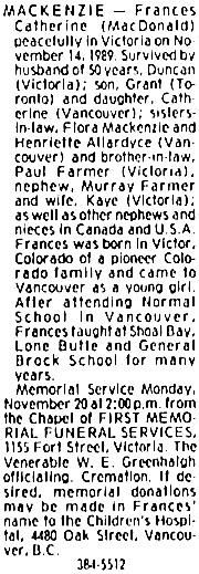 Victoria Times Colonist, November 19, 1989, page D2, column 4