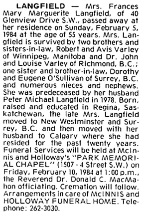 Calgary Herald, February 9, 1984, page 51, column 3.