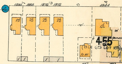 Georgia Street and Gilford Street, southeast corner, detail from Goad's Atlas of Vancouver, volume 1, Plate 48 [Denman Street to Georgia Street to Chilco Street to Haro Street]; https://searcharchives.vancouver.ca/plate-48-denman-street-to-georgia-street-to-chilco-street-to-haro-street.