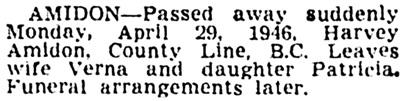 Vancouver Province, April 30, 1946, page 13, column 2.
