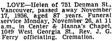 Vancouver Sun, November 24, 1956, page 32, column 6.