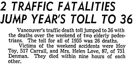 Vancouver Sun, November 19, 1956, page 3, columns 5-6.