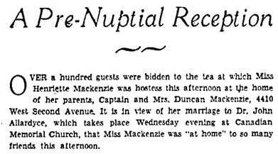 Vancouver Sun, April 30, 1932, page 15, column 5 [first portion of article].