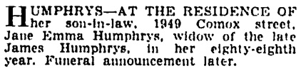 Vancouver Province, October 12, 1935, page 21, column 3.