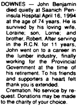 Victoria Times Colonist, April 21, 1994, page C8, column 4.