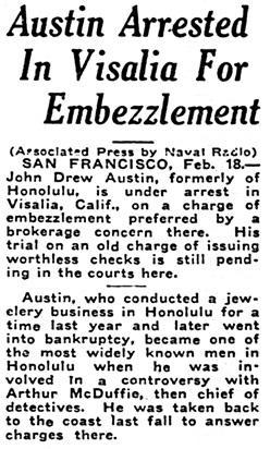 Honolulu Star-Bulletin, February 18, 1924, page 1, column 5.