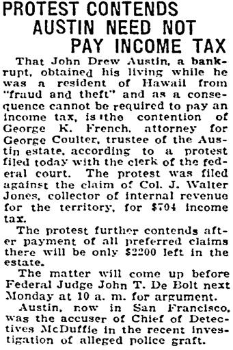 Honolulu Star-Bulletin, December 22, 1923, page 1, column 5.