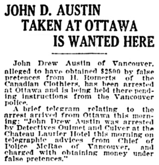 Vancouver Province, July 29, 1919, page 9, column 3.